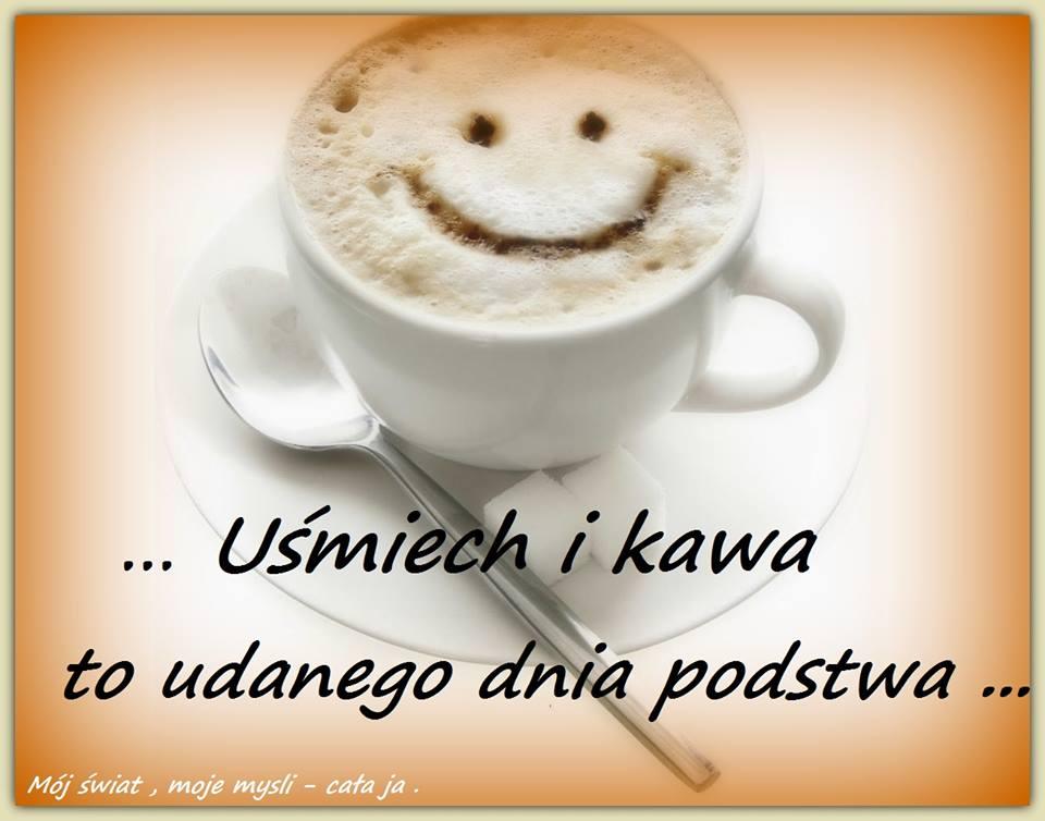 Uśmiech i kawa to udanego dnia podstaw